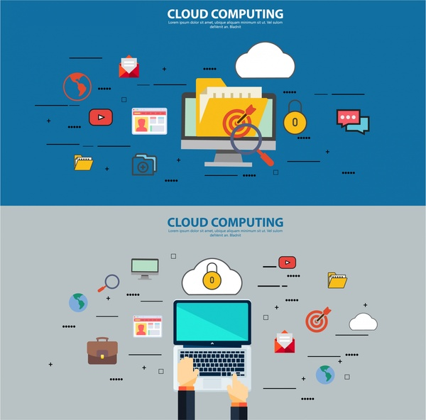 cloud computing concepts illustration with laptop and ui