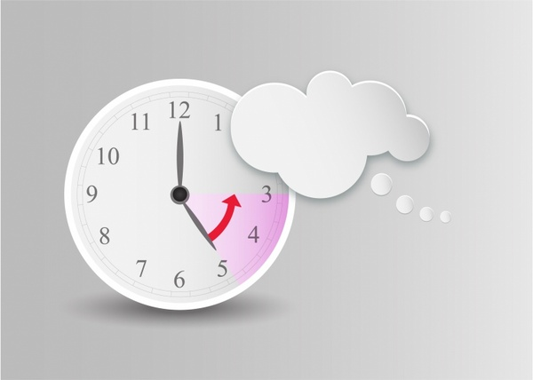 Cloud shaped speech bubble and clock