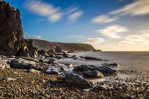 peaceful rocky pebble beach