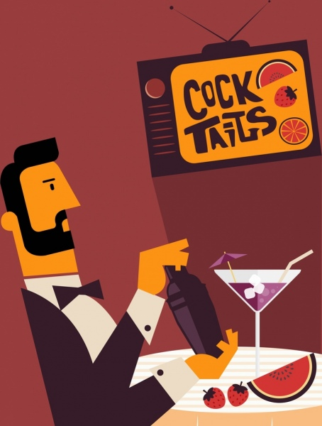 cocktail advertising banner elegant man icon colored cartoon
