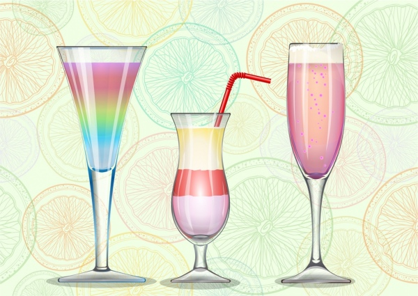 cocktail advertising wineglass icons fruit slices backdrop