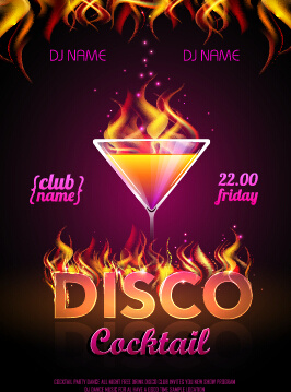 cocktail disco night party poster vector set