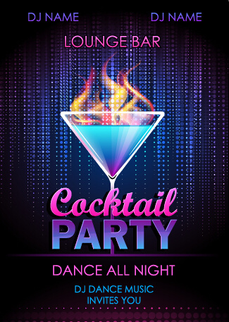 Cocktail disco night party poster vector set Free vector ...