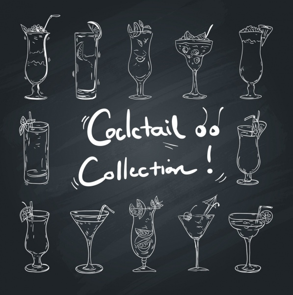 cocktail glass icons collection black white handdrawn design