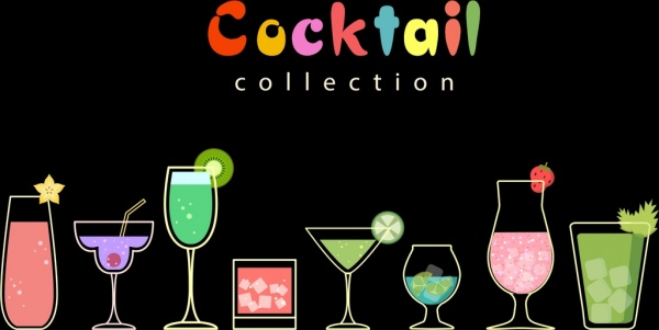 cocktail glass icons collection flat sketch