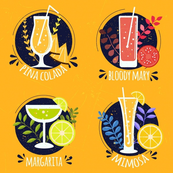 cocktail labels collection multicolored vintage decor