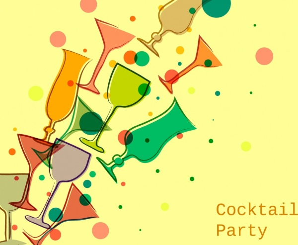 cocktail party advertising glass icons colorful flat decor