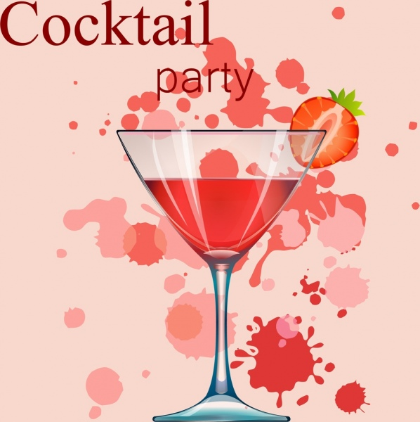 cocktail party banner wineglass strawberry grunge decor