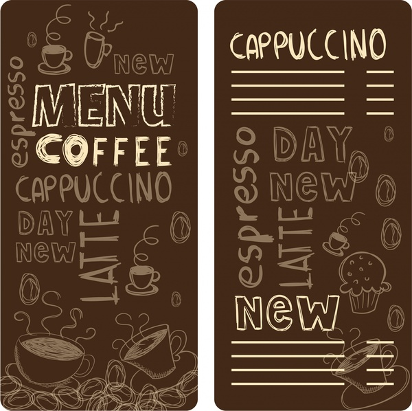 coffe menu template handdrawn icons and words desisgn