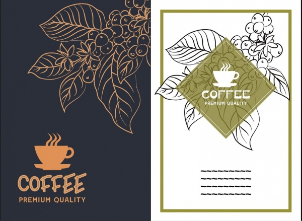 coffee advertisement sets silhouette leaves sketch cup icon