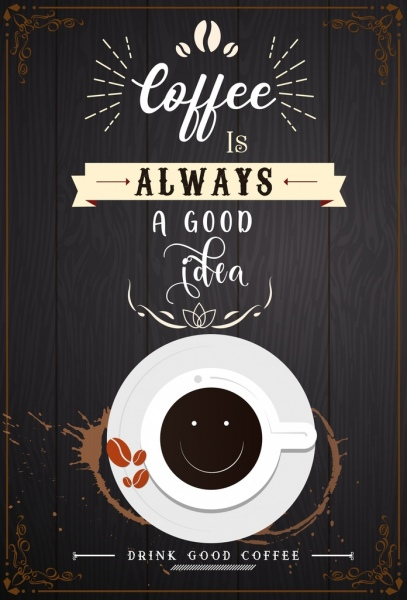 coffee advertisement white texts cup icon wooden background