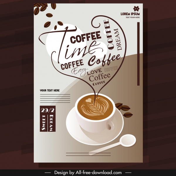 coffee advertising banner decorated cup texts heart layout