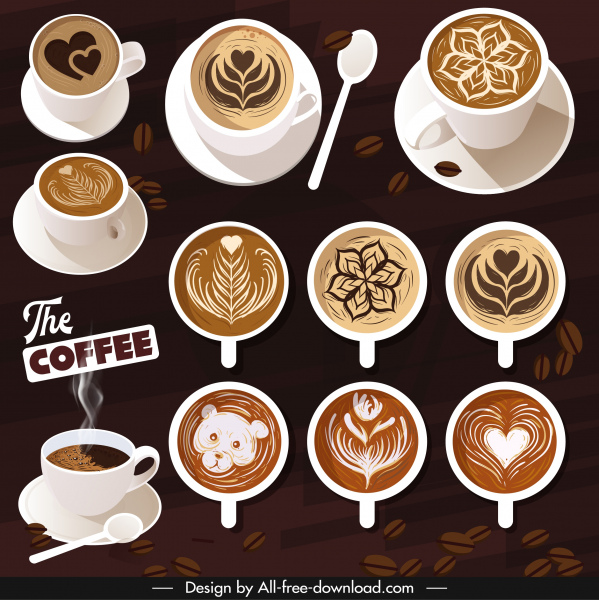 coffee advertising banner decorated cups dark classical decor
