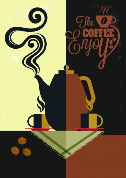 coffee advertising banner pot cup icons classical design