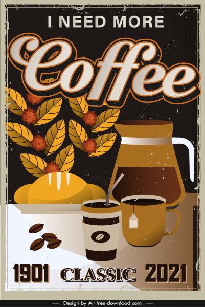 coffee advertising banner template retro design