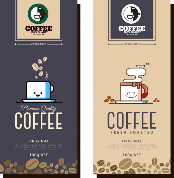 coffee advertising templates stylized cup beans icons decoration