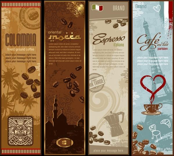 coffee leaflet templates elegant classical symbols decor