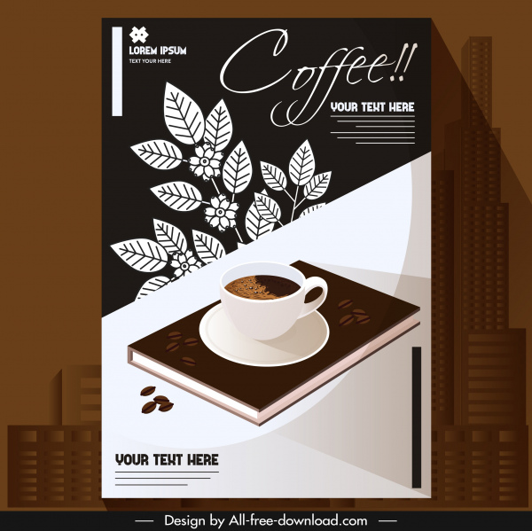 coffee background cup book leaves decor dark classic