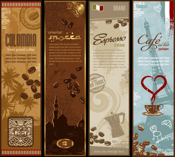 coffee advertising banners nation symbols decor retro design