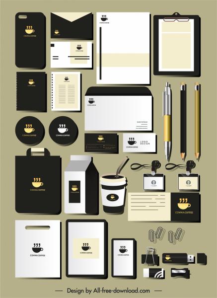 coffee branding identity sets flat cup aroma sketch