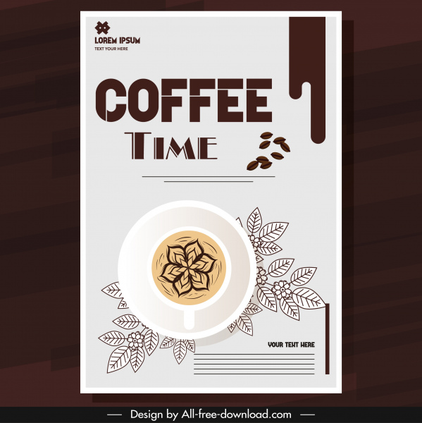 coffee brochure template classical brown cup leaves sketch
