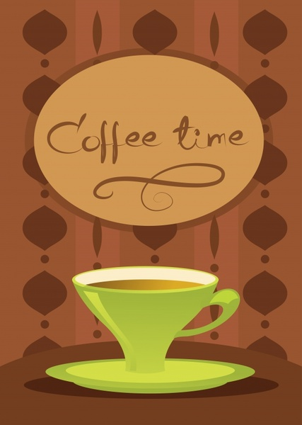 coffee time poster cup sketch classic background decor