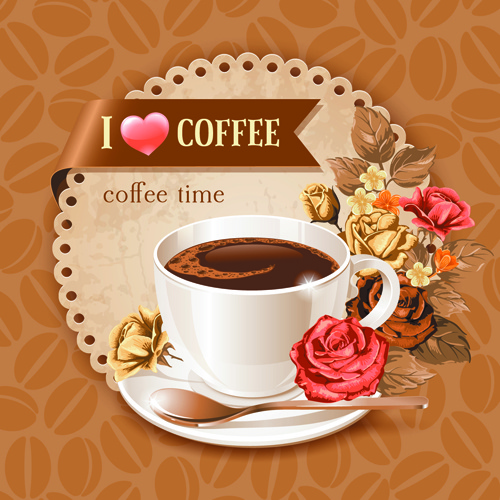 coffee cup and coffee beans pattern background vector