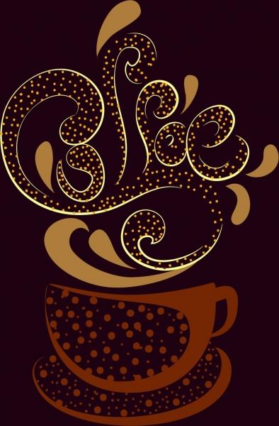 coffee cup icon dark design bean splashing calligraphy decoration