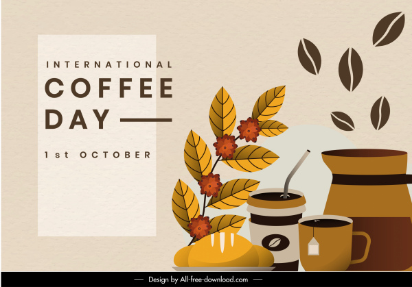 coffee day banner template elegant classical flat sketch