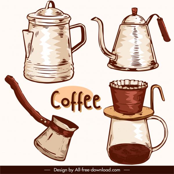 coffee design elements retro handdrawn kettle filter tools