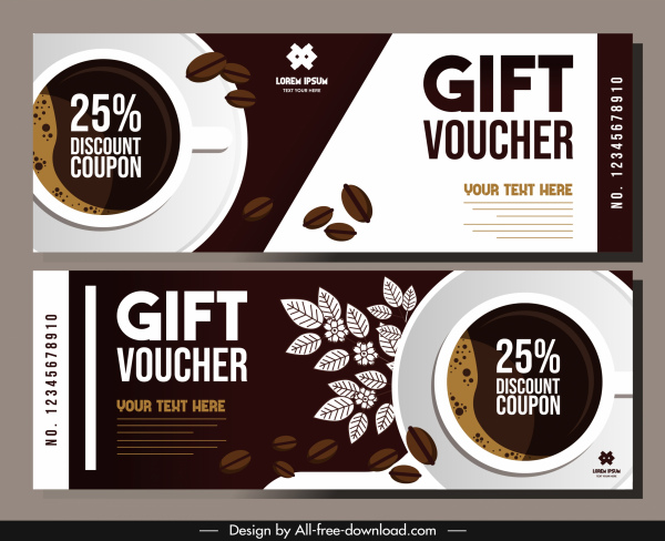 coffee gift voucher template classic brown flat decor