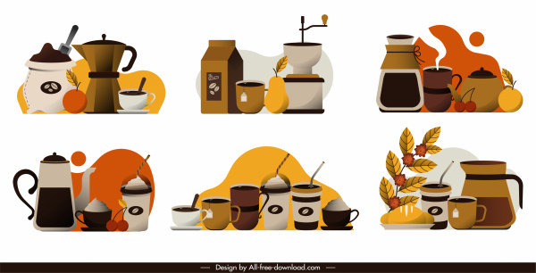 coffee icons colorful classical decor objects sketch