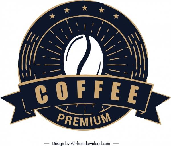 coffee label template classical black round design
