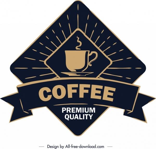 coffee label template classical dark ribbon geometric decor free