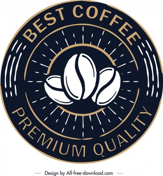 coffee label template retro black circle design