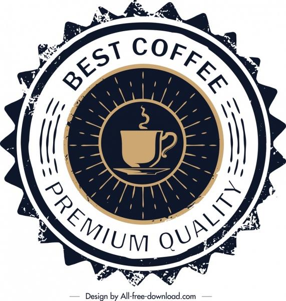 coffee label template retro serrated circle design free vector in