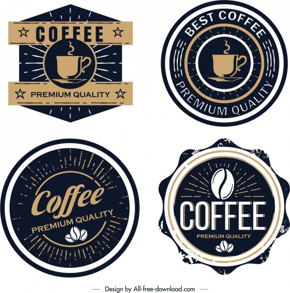 coffee label templates classical black design