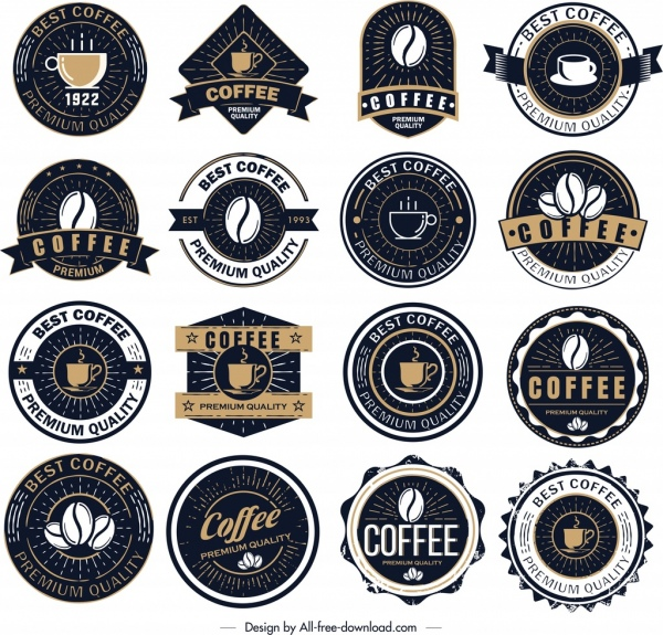 coffee label templates collection dark classical design