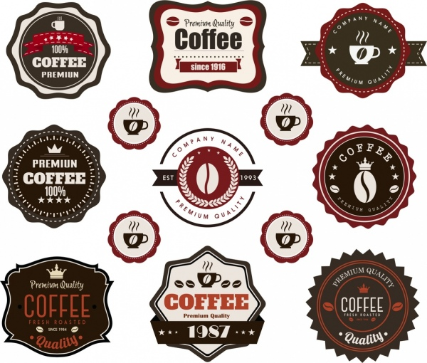 coffee labels collection vintage decor flat shapes
