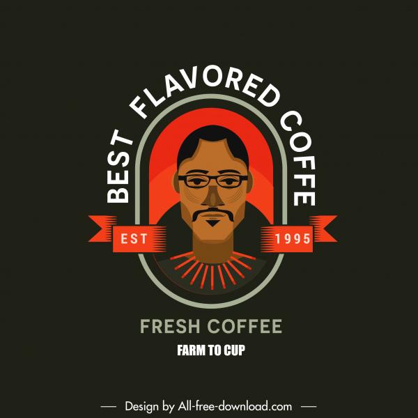 coffee logo template man portrait decor flat classic