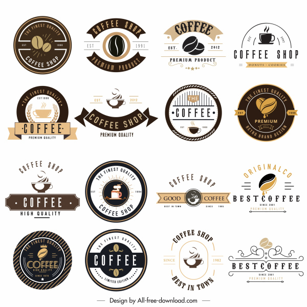coffee logo templates collection flat sketch classic decor