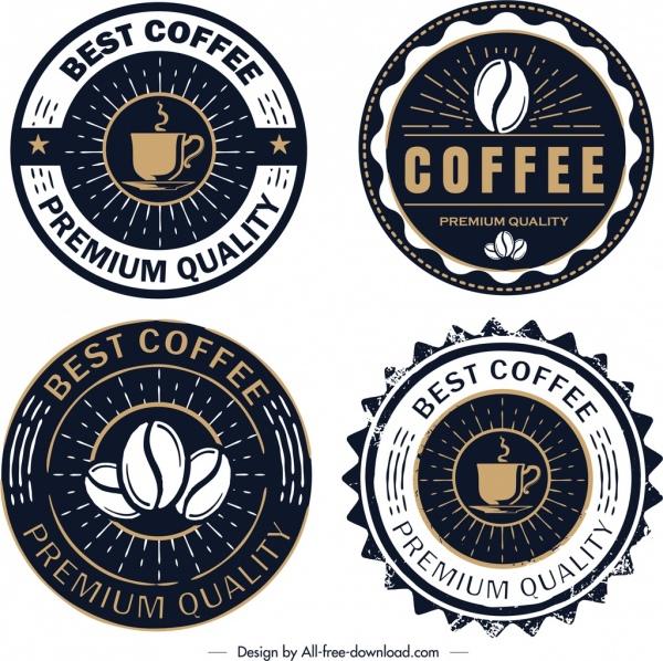 coffee logo templates retro circle dark design