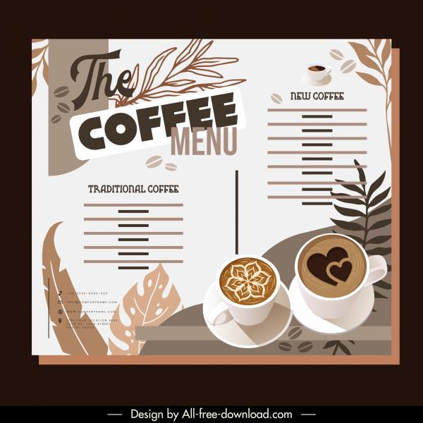 coffee menu template elegant classical brown decor