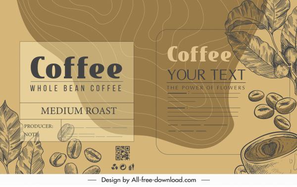 coffee menu template vintage handdrawn bean leaf sketch