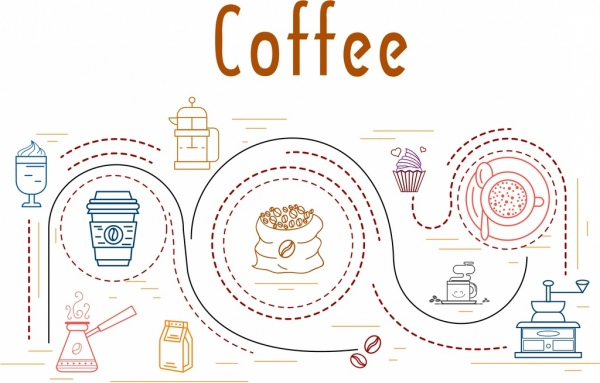 coffee processing concept background curves decor flat design