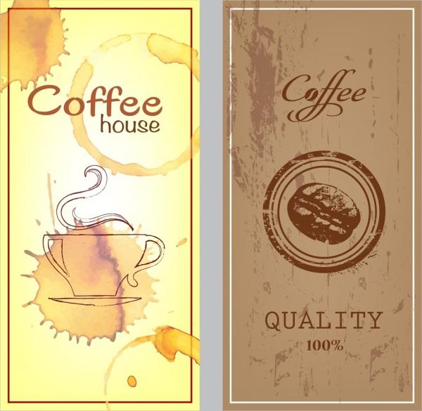 coffee promotion banner sets brown grunge manner