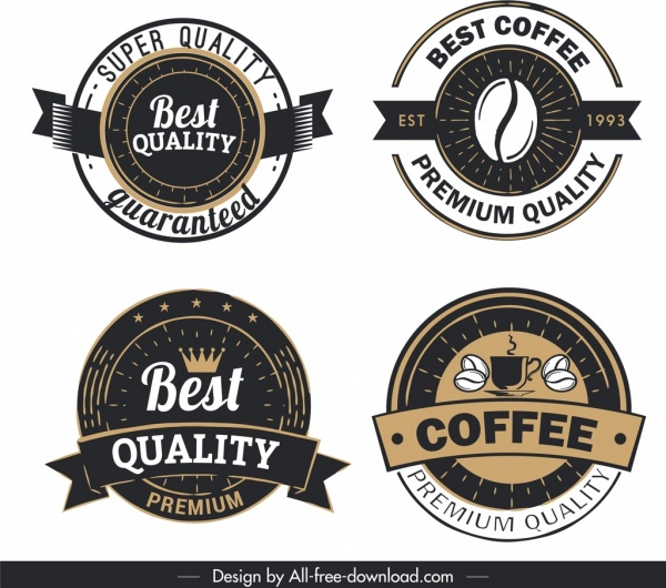 coffee quality label templates vintage decor circle shape