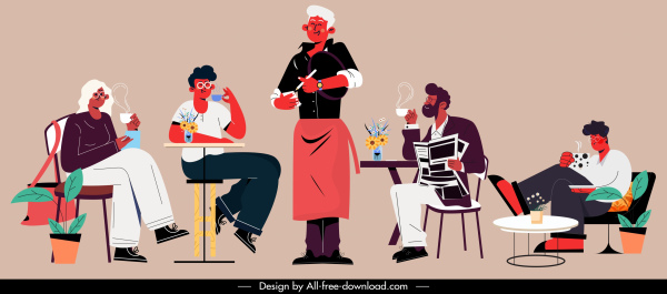 coffee restaurant icons waiter customers sketch cartoon characters