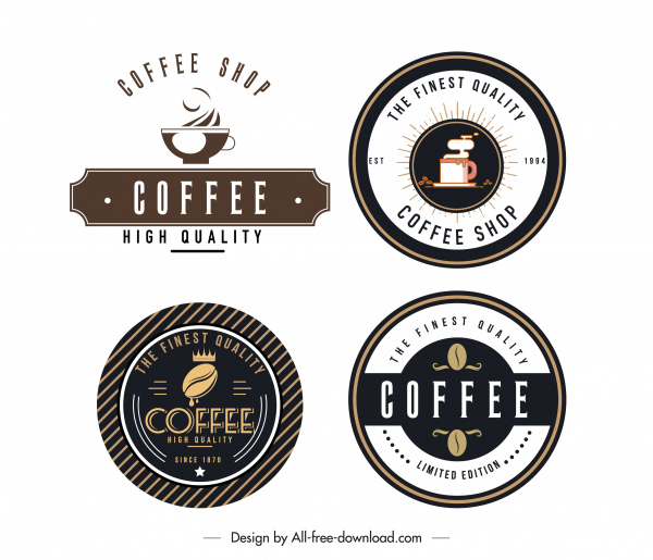 coffee shop logotypes flat decor classic design