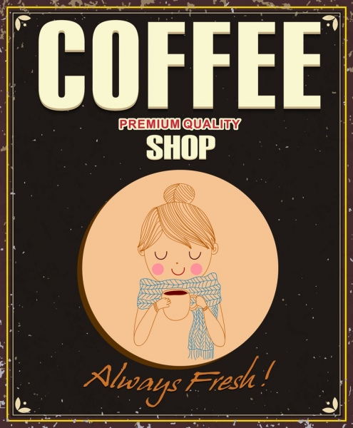 coffee shop poster female icon retro handdrawn cartoon